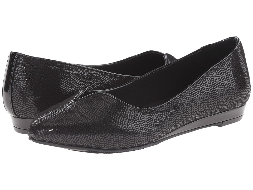 Soft Style - Dillian (Black Lizard) Women's Dress Flat Shoes