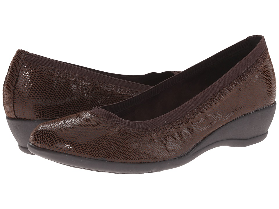 Soft Style - Rogan (Dark Brown Lizard) Women's Flat Shoes