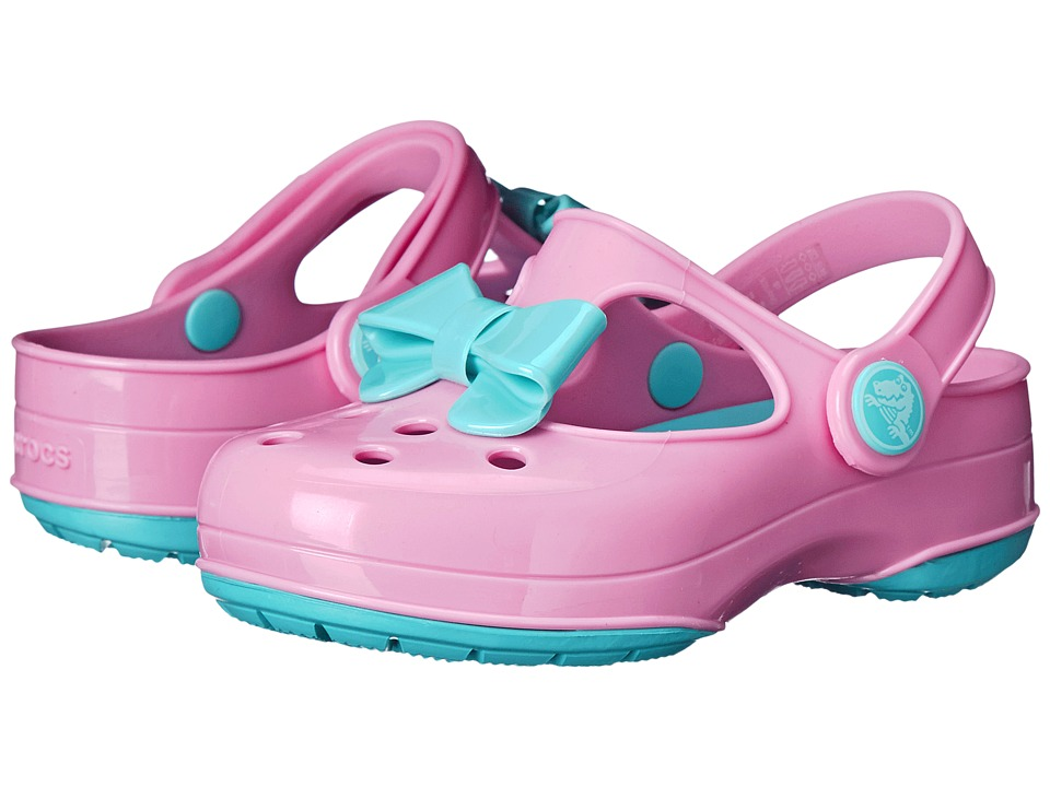 Crocs Kids - Carlie Bow Mary Jane (Toddler/Little Kid) (Carnation/Ice Blue) Girls Shoes