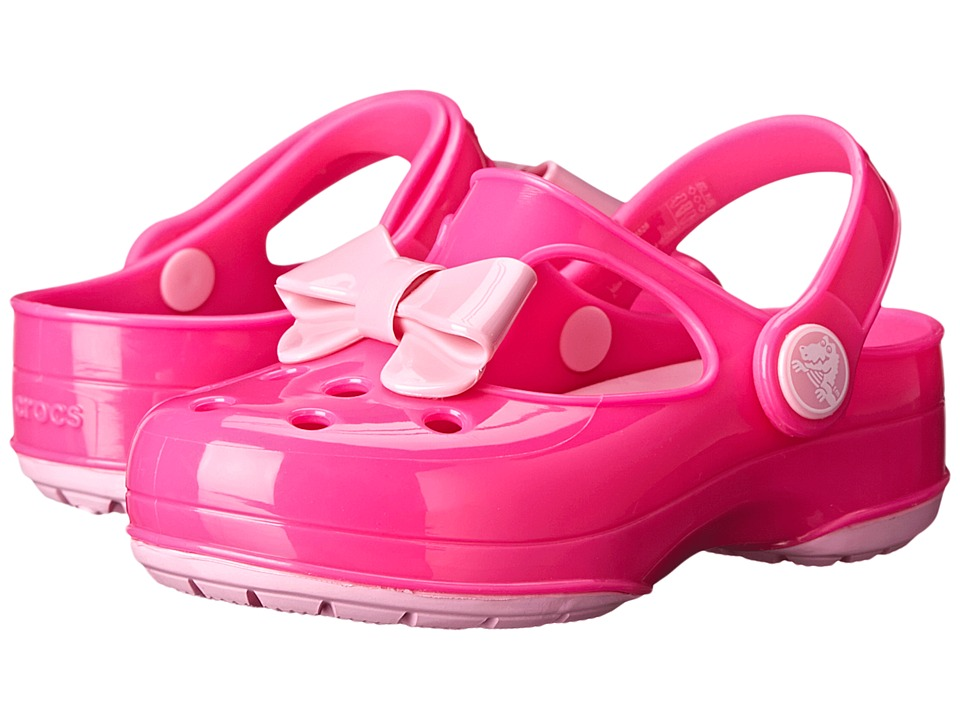 Crocs Kids - Carlie Bow Mary Jane (Toddler/Little Kid) (Neon Magenta/Carnation) Girls Shoes