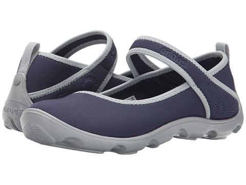 Crocs Kids - Duet Busy Day Mary Jane (Little Kid/Big Kid) (Navy/Light Grey) Girls Shoes