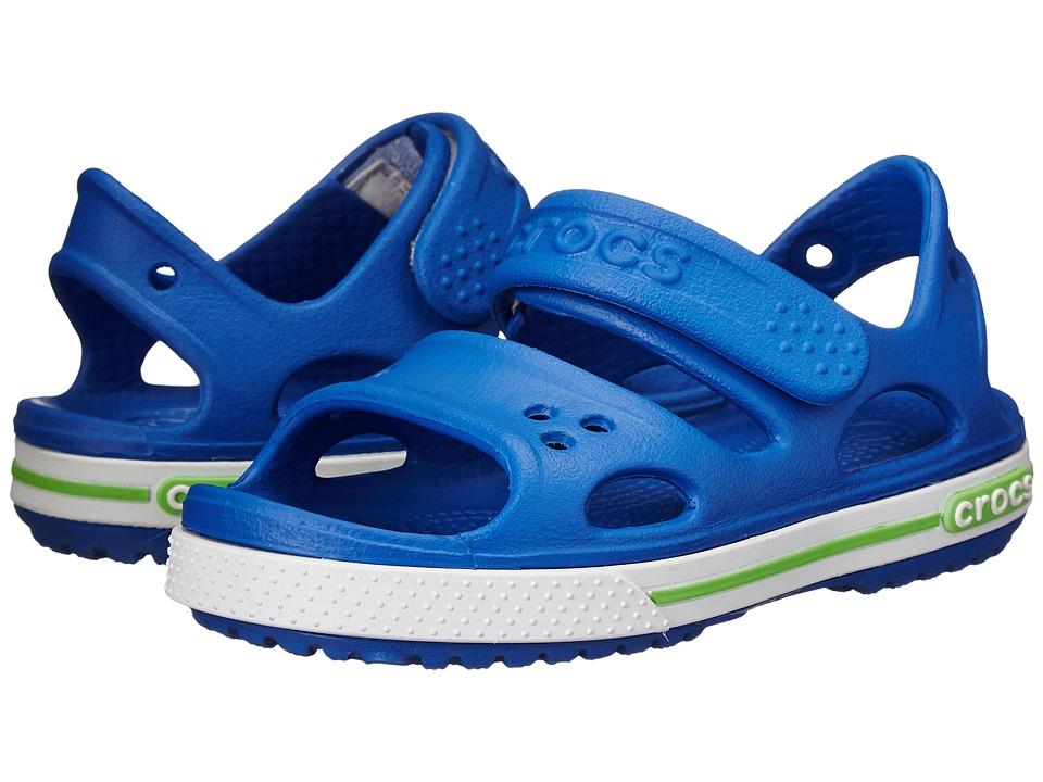 Crocs Kids - Crocband II Sandal (Toddler/Little Kid) (Sean Blue/White) Kids Shoes