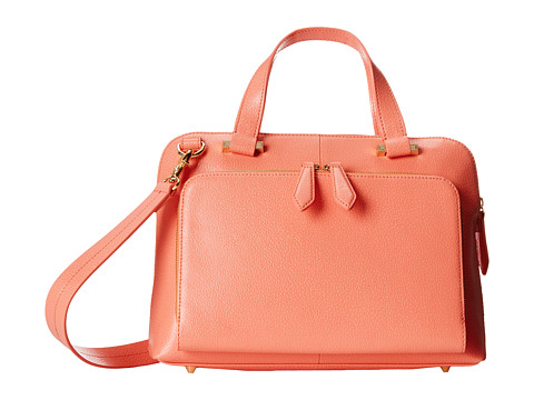 Lodis Accessories - Stephanie RFID Under Lock Key LAUREN Slim Brief Satchel (Coral) Briefcase Bags