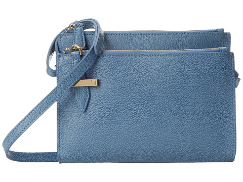 Lodis Accessories - Stephanie RFID Under Lock Key Trisha Double Zip Wallet on a String (Denim) Wallet Handbags