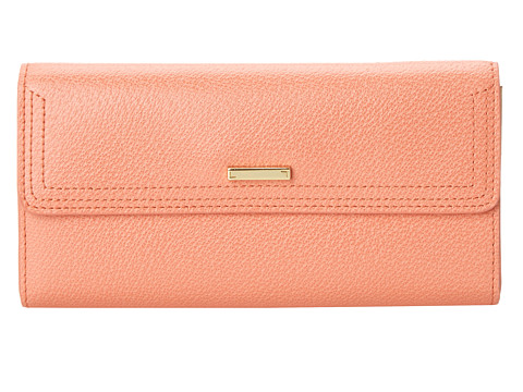 Lodis Accessories - Stephanie RFID Under Lock Key Checkbook Clutch (Coral) Checkbook Wallet