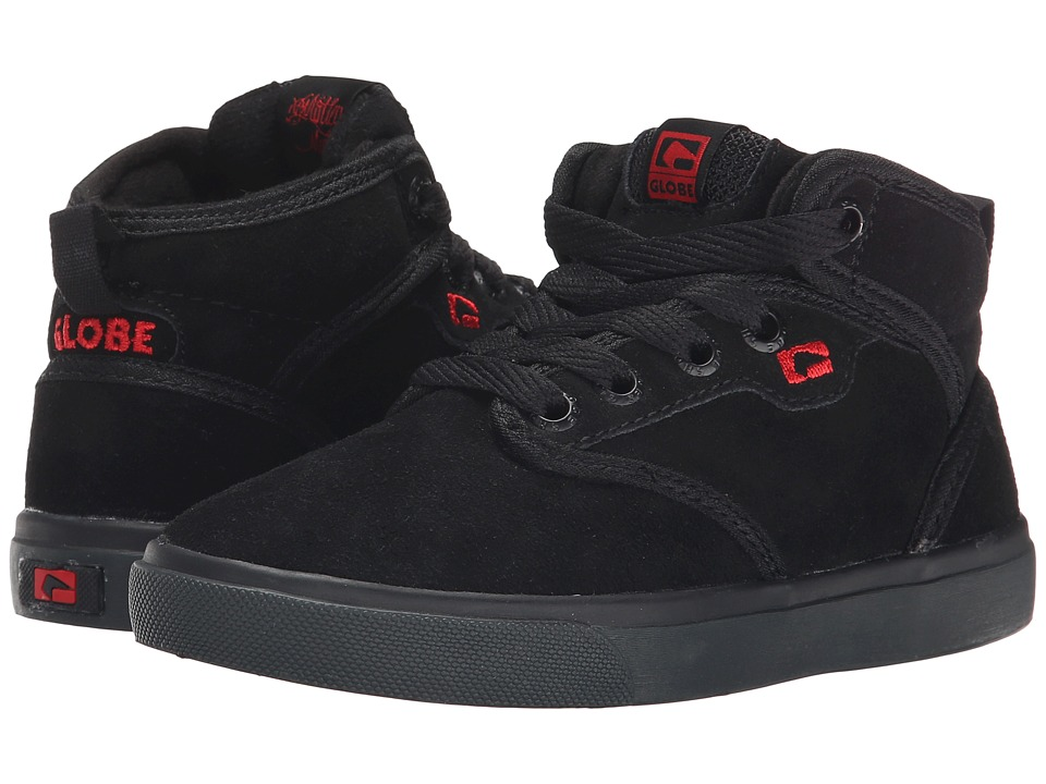 Globe - Motley Mid (Little Kid/Big Kid) (Black/Black/Red) Men's Skate Shoes