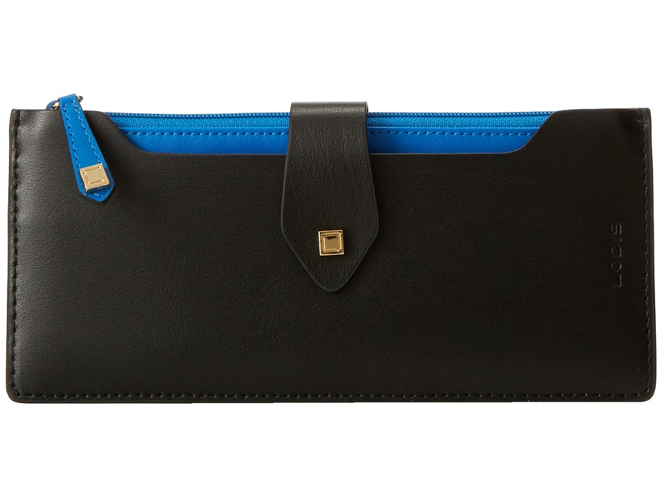 Lodis Accessories - Blair Unlined Sandy Multi Pouch Wallet (Black/Cobalt) Wallet Handbags