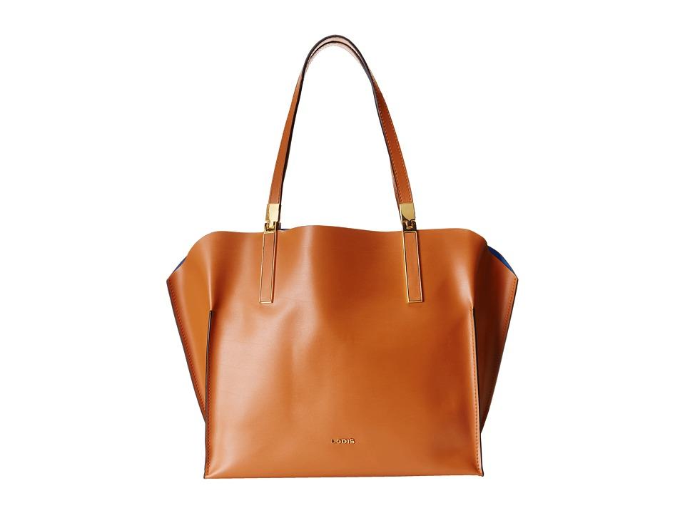 Lodis Accessories - Blair Unlined Anita East West Tote (Toffee/Cobalt) Satchel Handbags