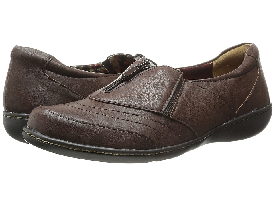 Soft Style - Jennica (Dark Brown Tumbled Leather) Women's Flat Shoes