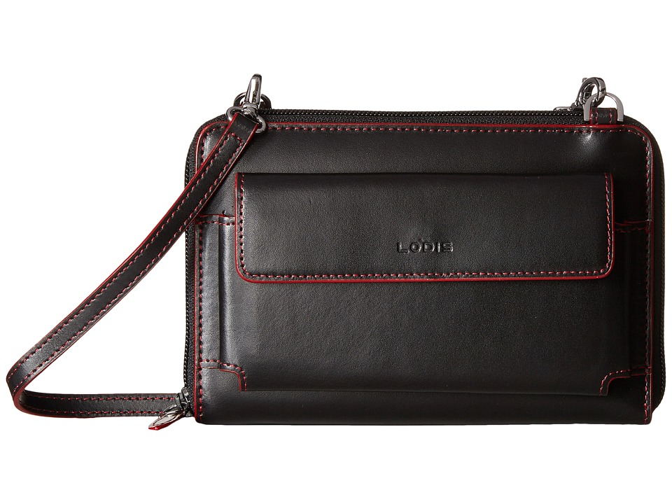 Lodis Accessories - Audrey Tracy Small Crossbody (Black/Red) Cross Body Handbags