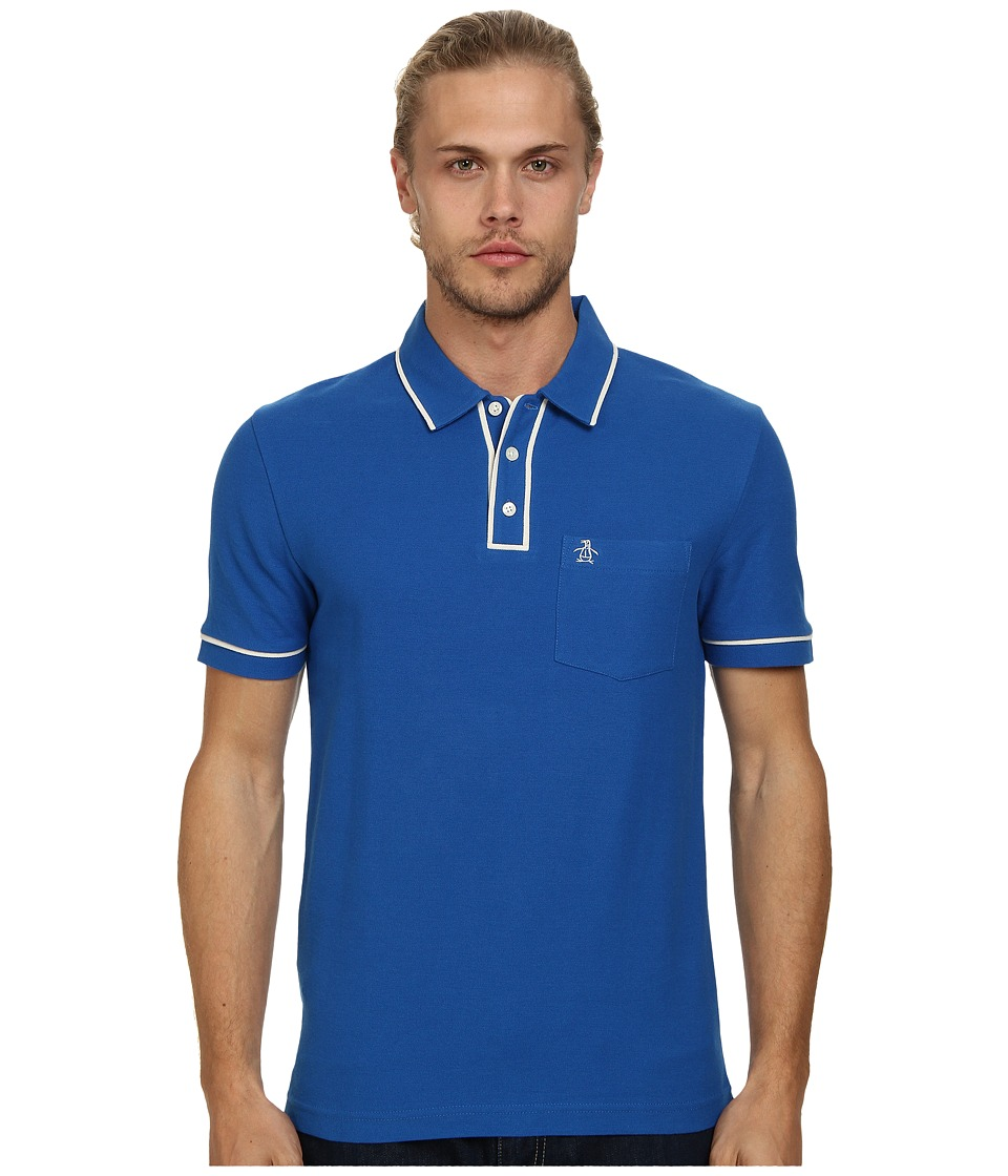 Original Penguin - Earl Heritage Slim Shirt (Classic Blue) Men's Short Sleeve Pullover