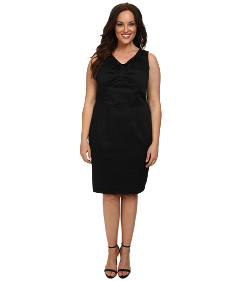 Poppy & Bloom - Plus Size On the Boardwalk Dress (Black Solid) Women's Dress