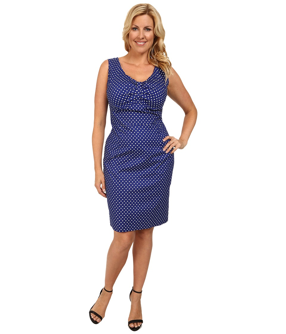 Poppy & Bloom - Plus Size On the Boardwalk Dress (Blue/White Polka Dot) Women's Dress