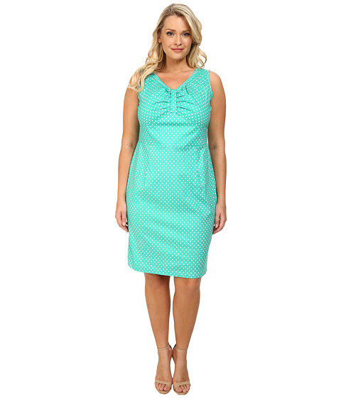 Poppy & Bloom - Plus Size On the Boardwalk Dress (Mint/White Polka Dot) Women's Dress