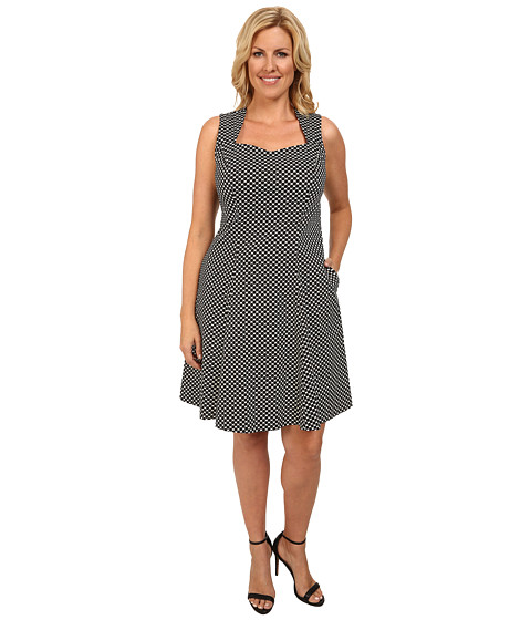 Poppy & Bloom - Plus Size Sweet Talk Dress (Black/White Dots) Women's Dress