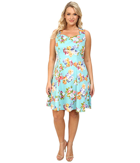 Poppy & Bloom - Plus Size Sweet Talk Dress (Teal/Foral Print) Women's Dress
