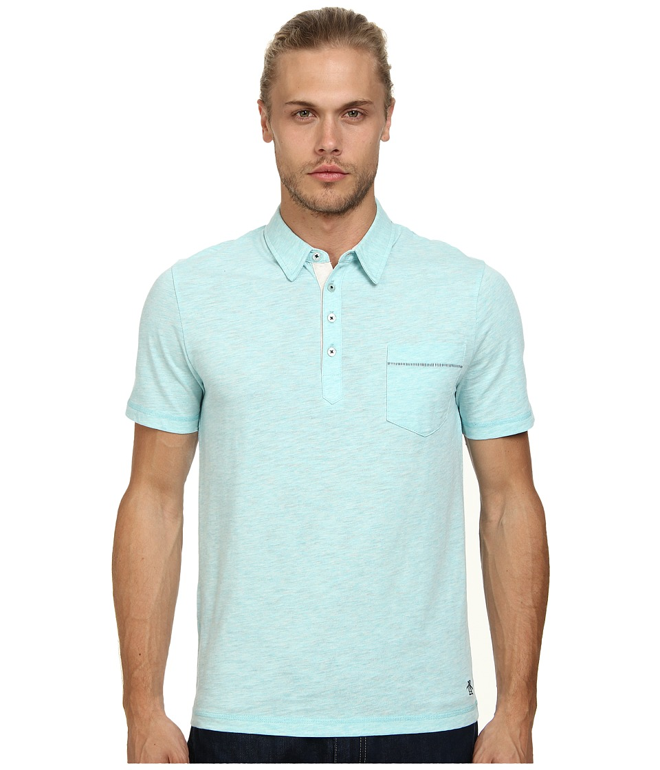 Original Penguin - Bing Polo Heritage Fit Shirt (Aqua Splash) Men's Short Sleeve Pullover