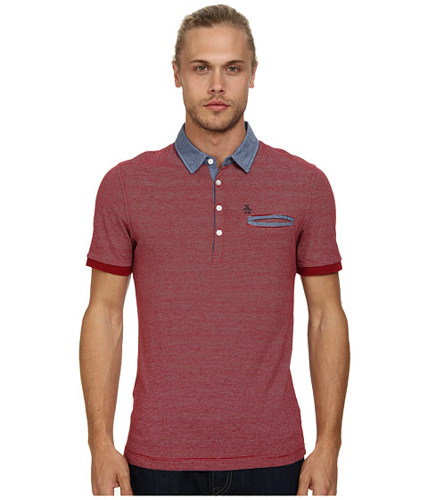 Original Penguin - Yarn Dye Stripe Chambray Collar Shirt (Biking Red) Men's Short Sleeve Pullover