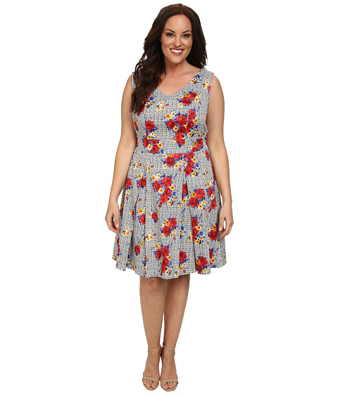 Poppy & Bloom - Plus Size Ladies Who Lunch Fit Flare Dress (Muticolor Houndstooth) Women