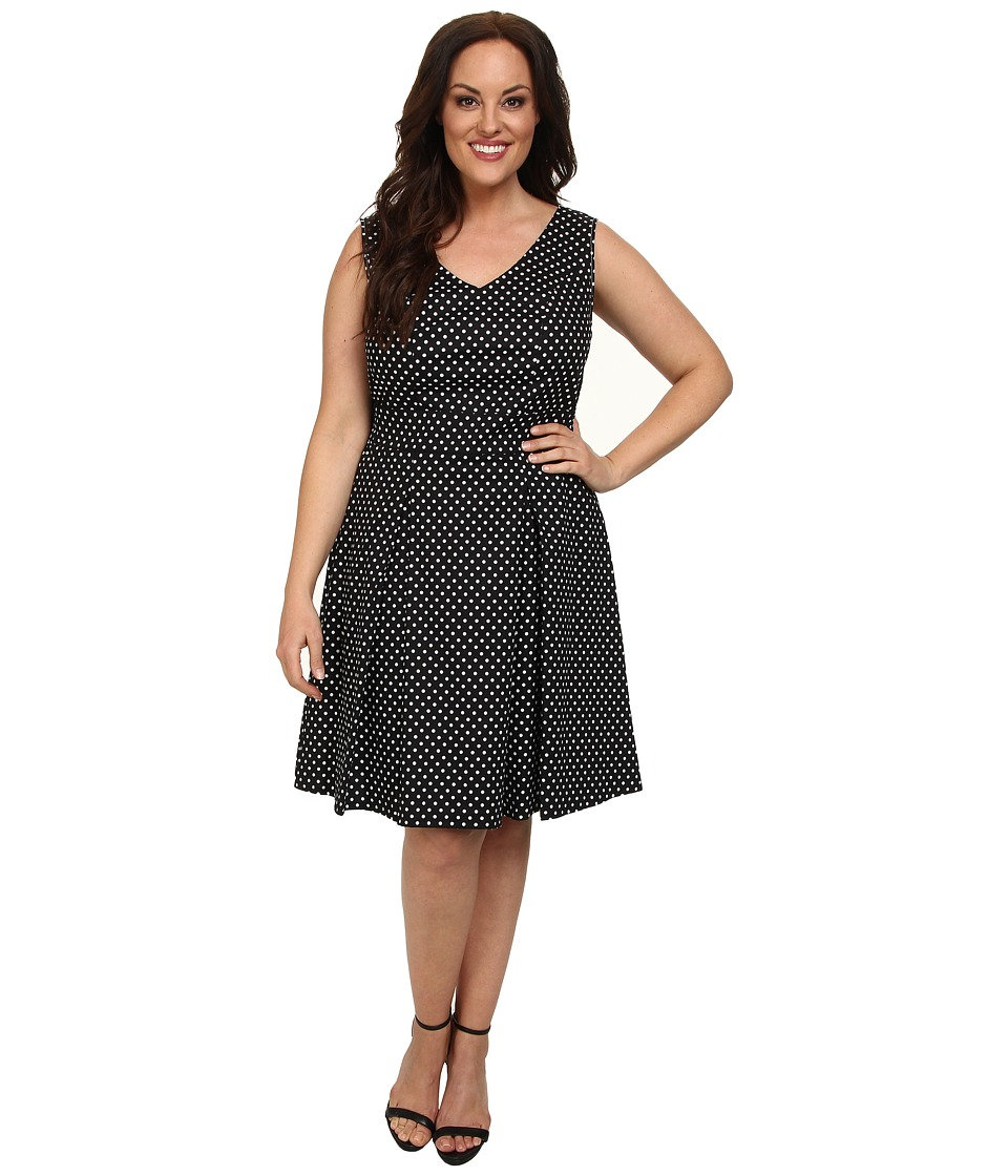 Poppy & Bloom - Plus Size Ladies Who Lunch Fit Flare Dress (Black/White Polka Dots) Women's Dress