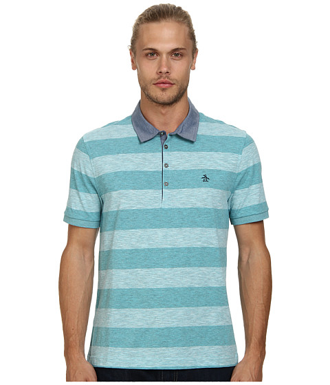 Original Penguin - Melange Auto Polo Heritage Fit Shirt (Scuba Blue) Men's Short Sleeve Knit