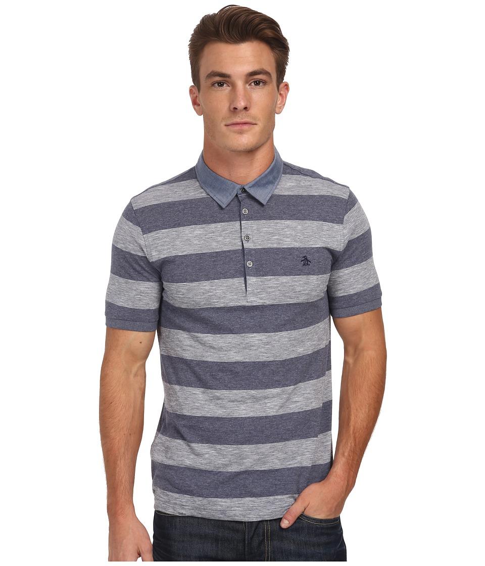 Original Penguin - Melange Auto Polo Heritage Fit Shirt (Dress Blues) Men