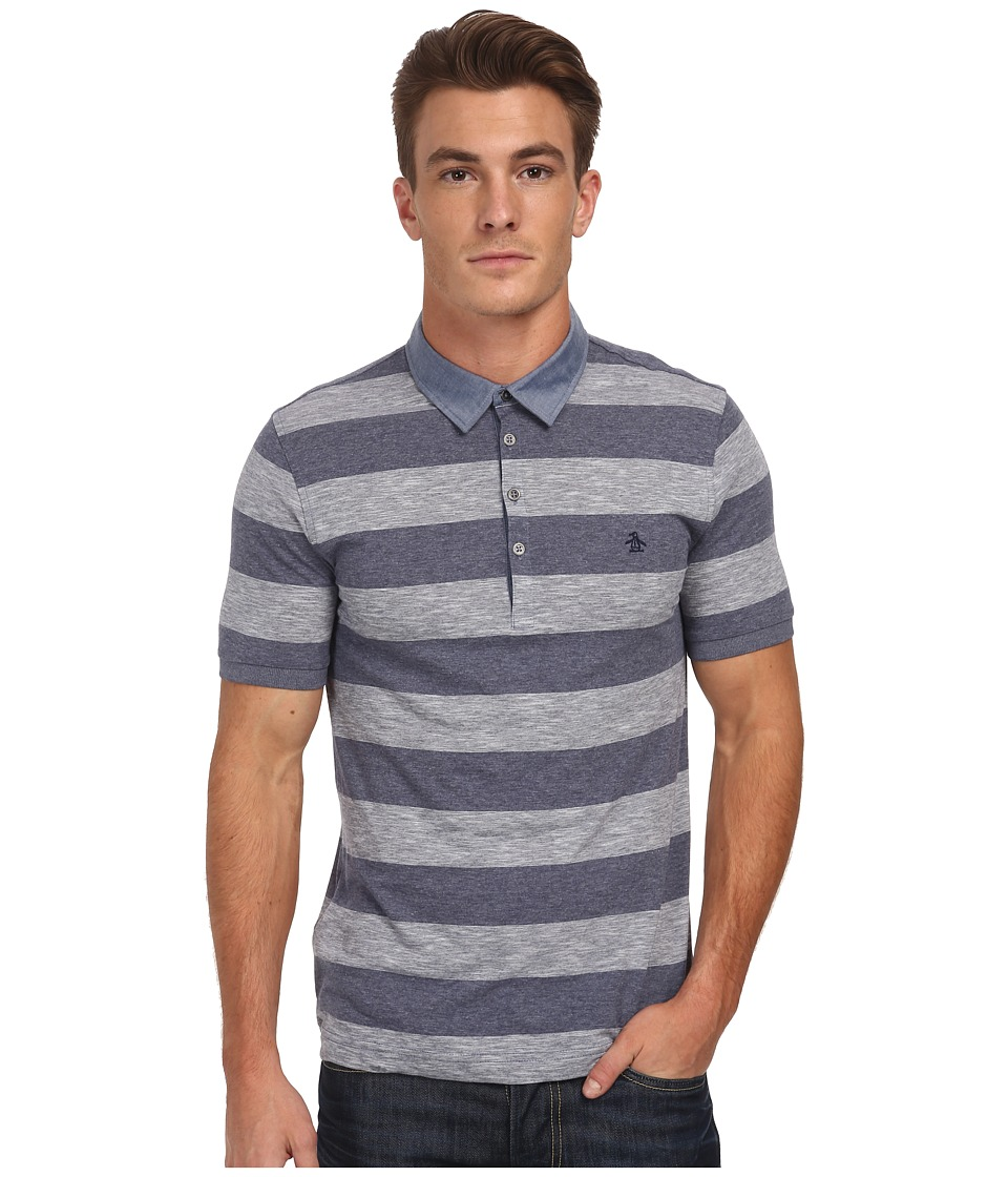 Original Penguin - Melange Auto Polo Heritage Fit Shirt (Dress Blues) Men's Short Sleeve Knit