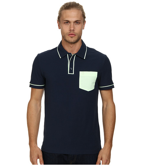 Original Penguin - Neon Pocket Earl Heritage Slim Fit Shirt (Dress Blues) Men's Short Sleeve Pullover