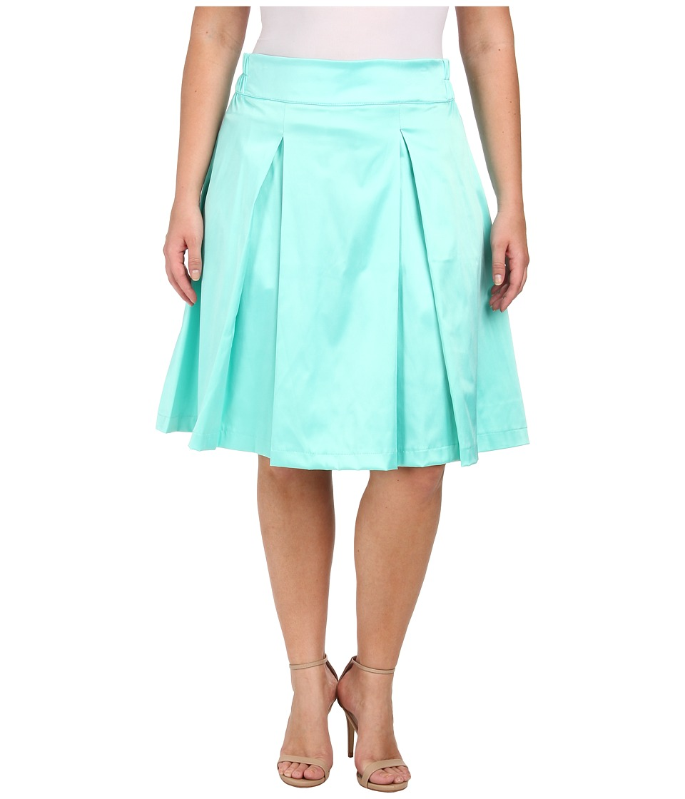 Poppy & Bloom - Plus Size Tilt and Twirl Skirt (Mint Solid) Women