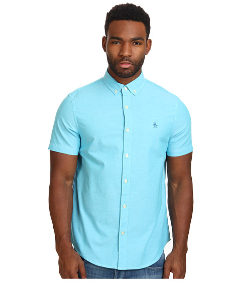 Original Penguin - Short Sleeve Oxford Cotton Heritage Fit Shirt (Scuba Blue) Men