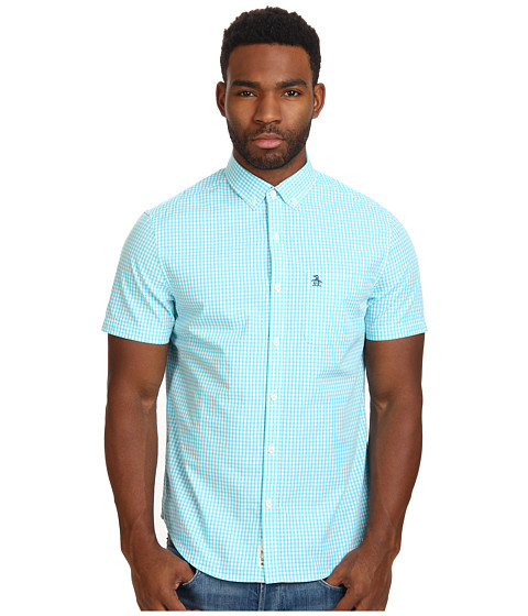 Original Penguin - Short Sleeve Gingham Cotton Heritage Fit Shirt (Scuba Blue) Men