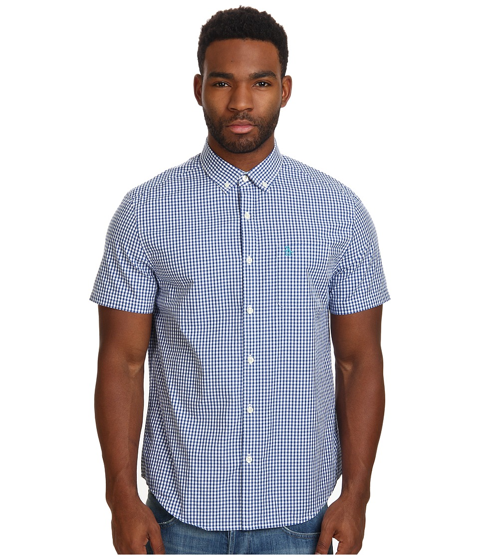 Original Penguin - Short Sleeve Gingham Cotton Heritage Fit Shirt (Classic Blue) Men's Short Sleeve Button Up