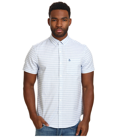 Original Penguin - End on End Horizontal Stripe Woven Shirt (Classic Blue) Men's Short Sleeve Button Up