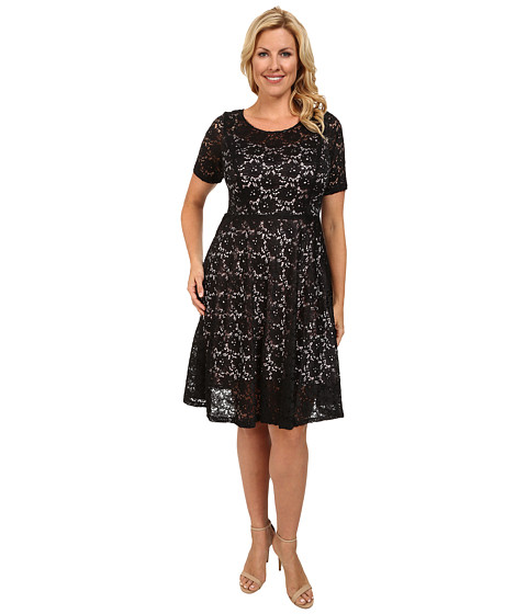 Poppy & Bloom - Plus Size Lace Dress (Black) Women's Dress