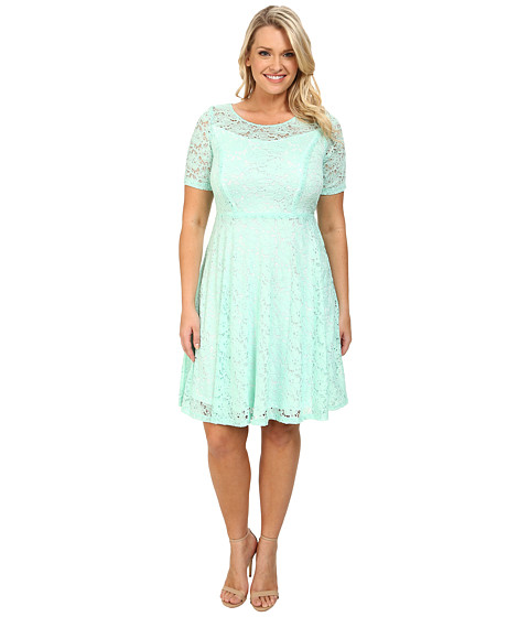 Poppy & Bloom - Plus Size Lace Dress (Mint) Women