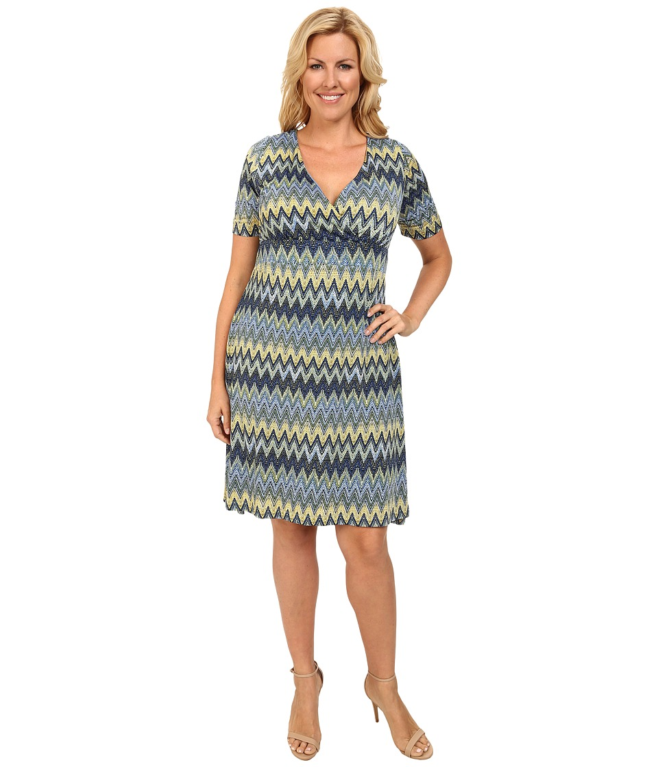 Poppy & Bloom - Plus Size Working Through Lunch Dress (Blue/Green Chevron) Women's Dress