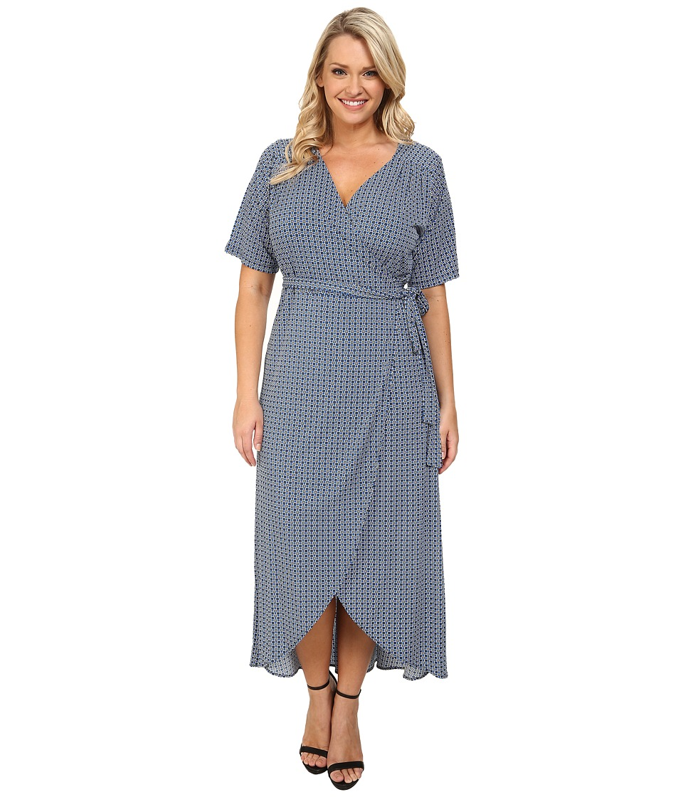Poppy & Bloom - Plus Size Under Wraps Dress (White/Blue Print) Women