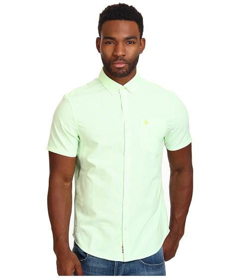 Original Penguin - Neon Stripe Woven Short Sleeve Shirt (Tender Shoots) Men's Short Sleeve Button Up