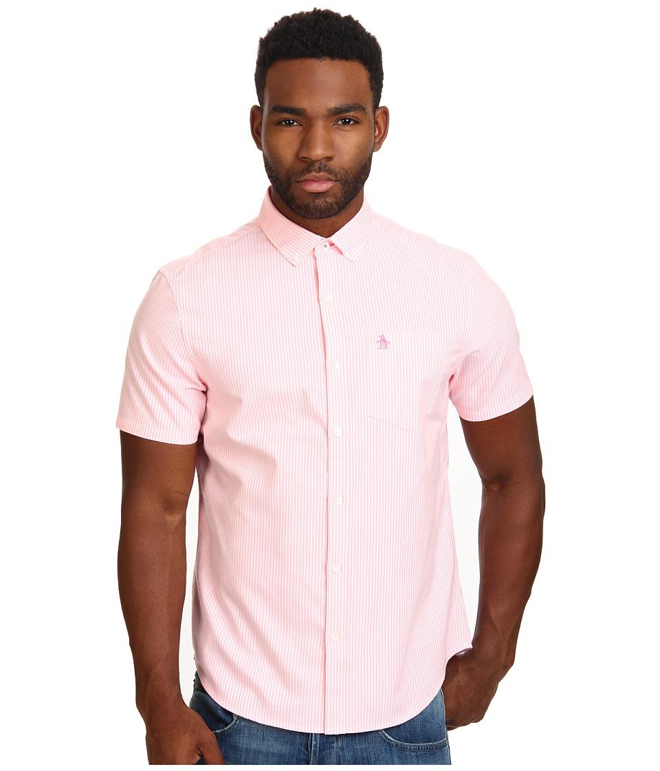 Original Penguin - Neon Stripe Woven Short Sleeve Shirt (Carmine Rose) Men