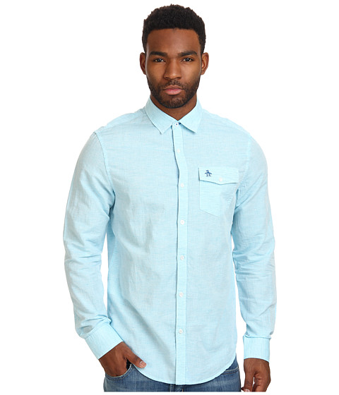 Original Penguin - Mini Horizontal Stripe Long Sleeve Woven Shirt (Scuba Blue) Men's Long Sleeve Button Up