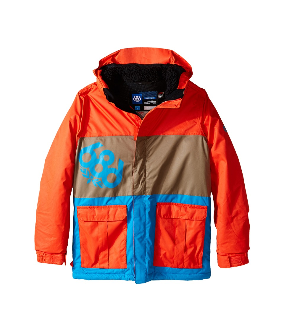 686 Kids - Elevate Insulated Jacket (Big Kids) (Burnt Orange Colorblock) Boy