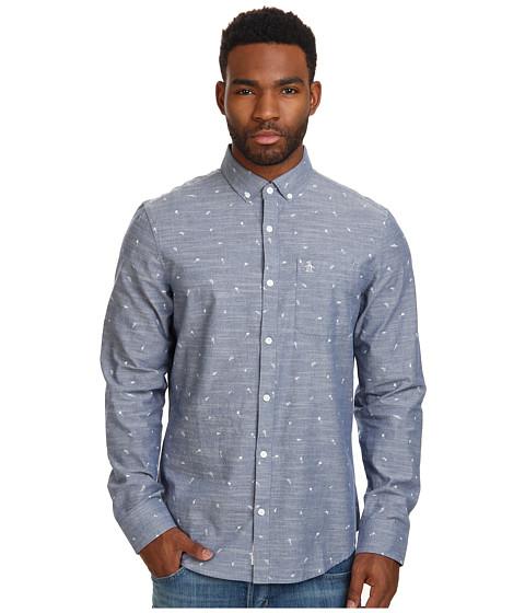 Original Penguin - Chambray Long Sleeve Woven Shirt w/ Mini Print (Dress Blues) Men