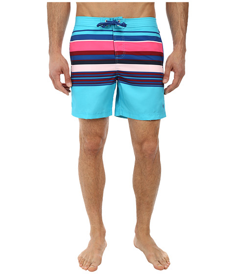 Original Penguin - Bold Engineered Stripe Volley (Scuba Blue) Men's Swimwear