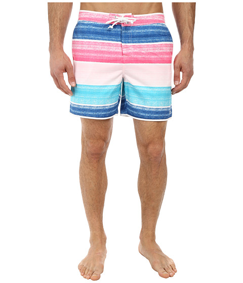 Original Penguin - Cloud Stripe Volley Swim Shorts (Bright White) Men