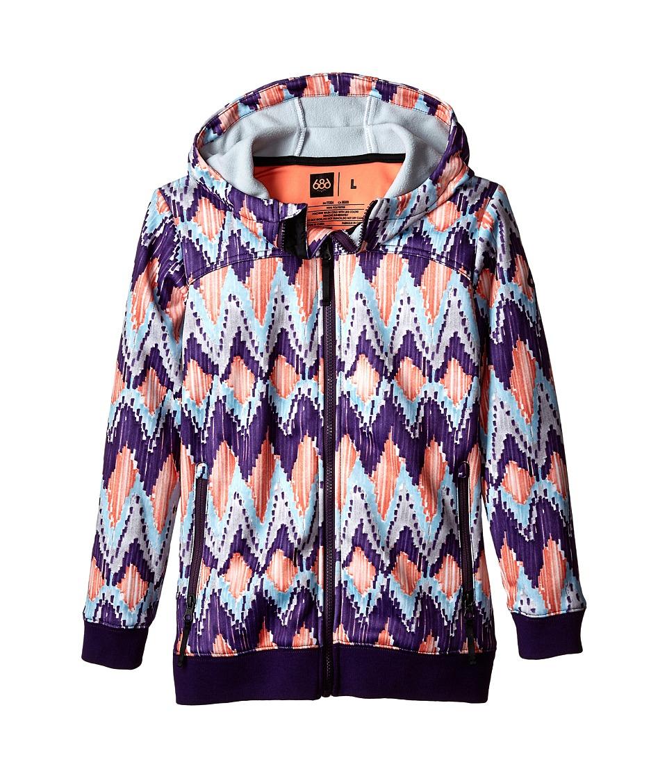 Image of 686 Kids - Allure Bond Fleece Hoodie (Big Kids) (Violet Ikat) Girl's Sweatshirt