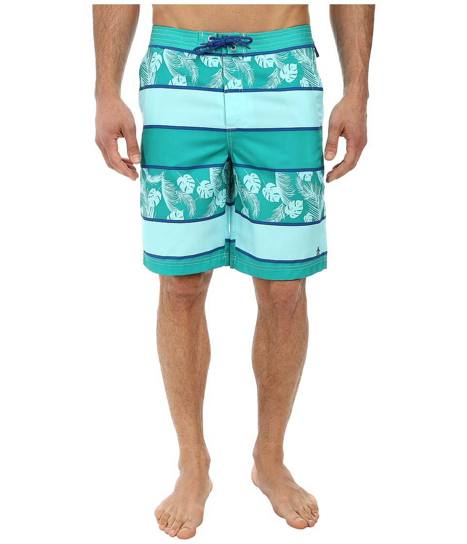 Original Penguin - Bold Stripe w/ Leaves Print Board Trunk (Dynasty Green) Men's Swimwear