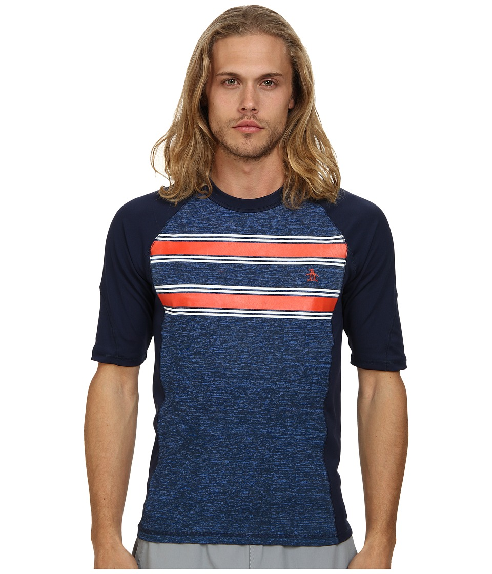 Original Penguin - Printed Spacedye Rashguard (Dress Blues) Men