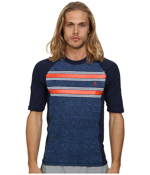 Original Penguin - Printed Spacedye Rashguard (Dress Blues) Men's Swimwear