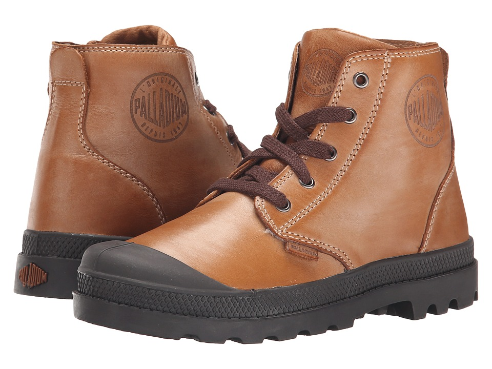 Palladium Kids - Pampa Hi Leather Zip (Little Kid) (Copper Kettle/Chocolate) Boys Shoes