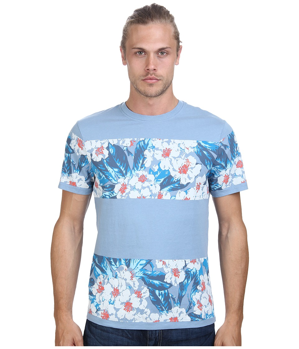 Original Penguin - Block Floral Tee (Faded Denim) Men's T Shirt